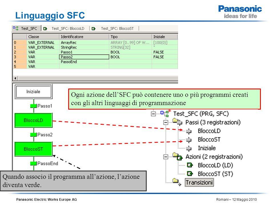 Linguaggio SFC Ogni azione dell'SFC può contenere uno o più programmi creati con gli altri linguaggi di programmazione.