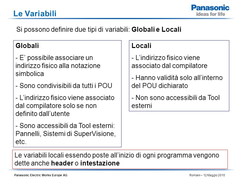 Le Variabili Si possono definire due tipi di variabili: Globali e Locali. Globali.