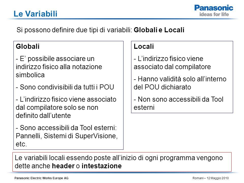 Le VariabiliSi possono definire due tipi di variabili: Globali e Locali. Globali.