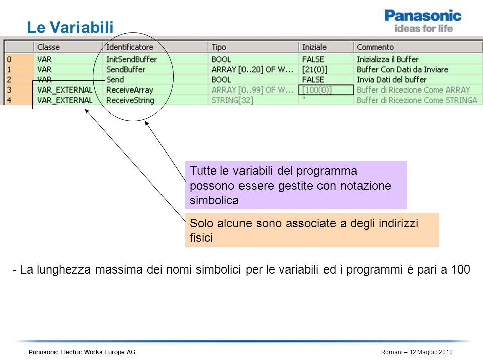 Le Variabili Tutte le variabili del programma possono essere gestite con notazione simbolica. Solo alcune sono associate a degli indirizzi fisici.