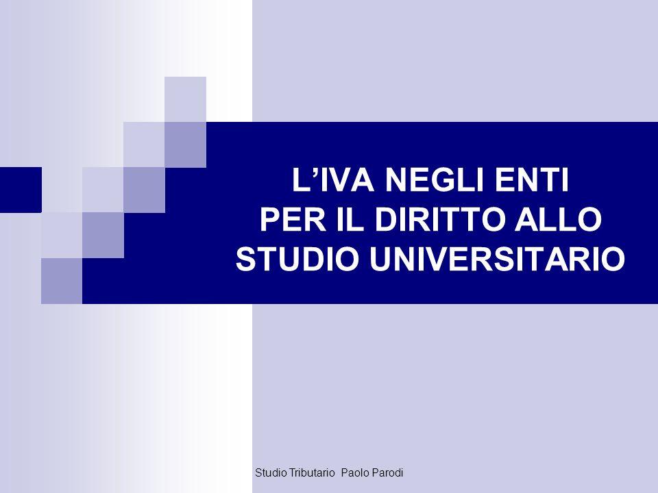 L'IVA NEGLI ENTI PER IL DIRITTO ALLO STUDIO UNIVERSITARIO