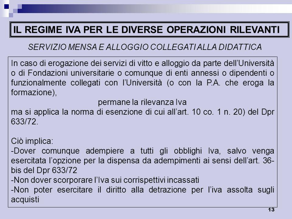 IL REGIME IVA PER LE DIVERSE OPERAZIONI RILEVANTI