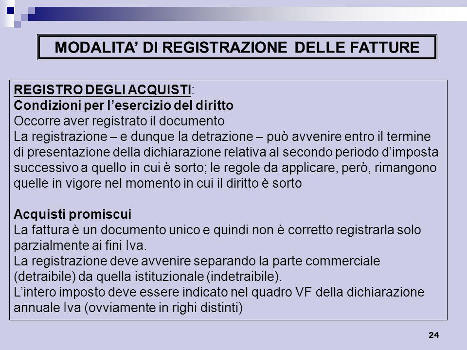 MODALITA' DI REGISTRAZIONE DELLE FATTURE