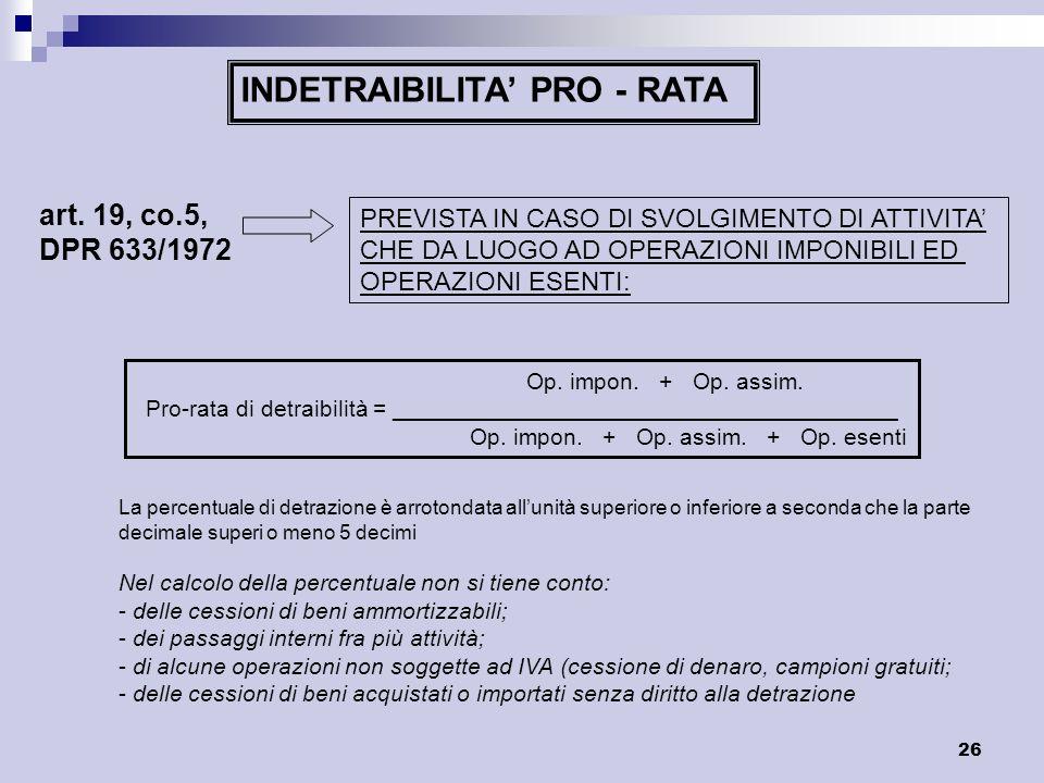 INDETRAIBILITA' PRO - RATA
