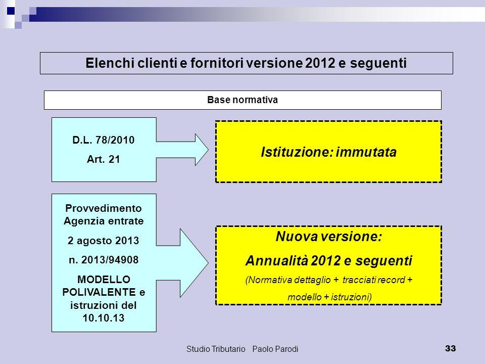 Elenchi clienti e fornitori versione 2012 e seguenti