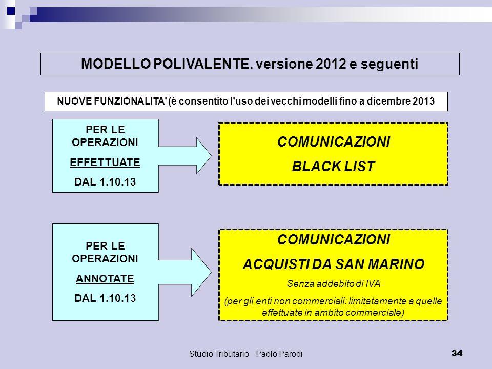 MODELLO POLIVALENTE. versione 2012 e seguenti