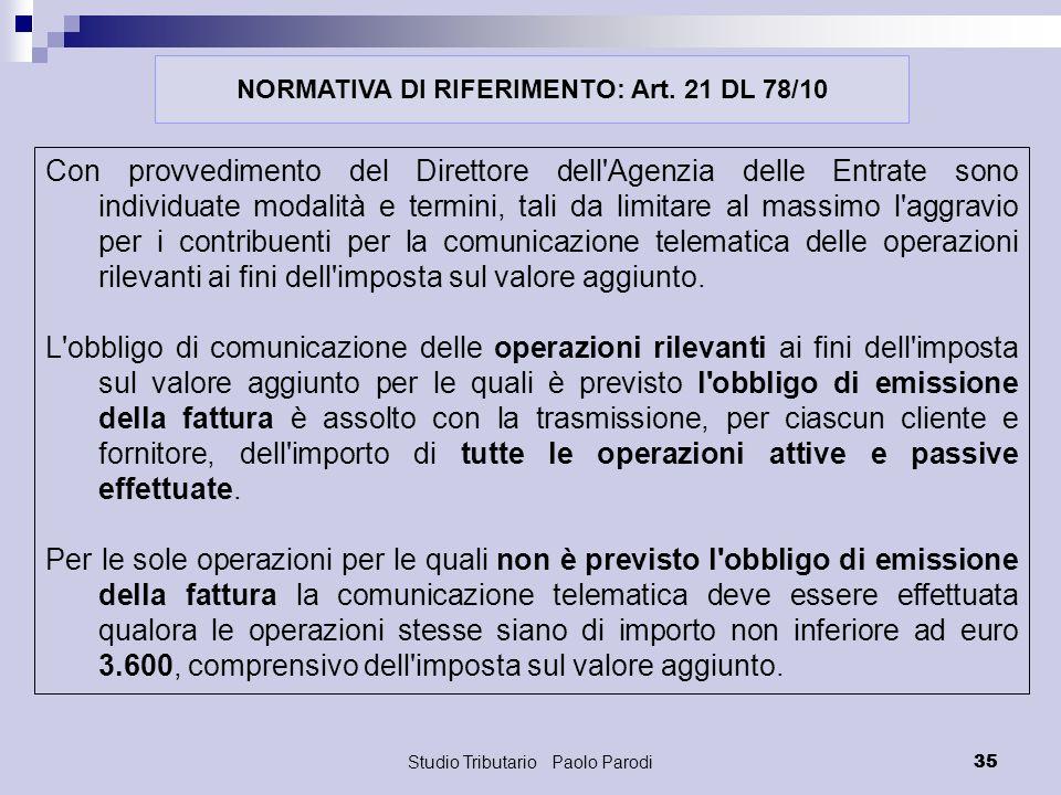 NORMATIVA DI RIFERIMENTO: Art. 21 DL 78/10