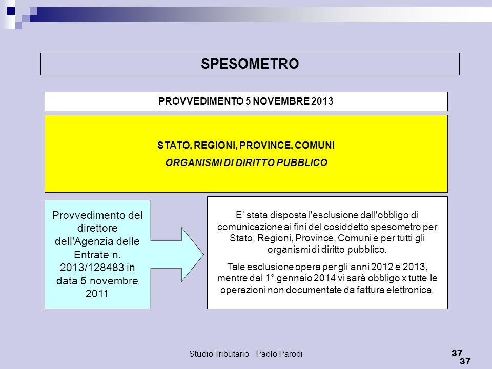SPESOMETRO PROVVEDIMENTO 5 NOVEMBRE 2013. STATO, REGIONI, PROVINCE, COMUNI. ORGANISMI DI DIRITTO PUBBLICO.
