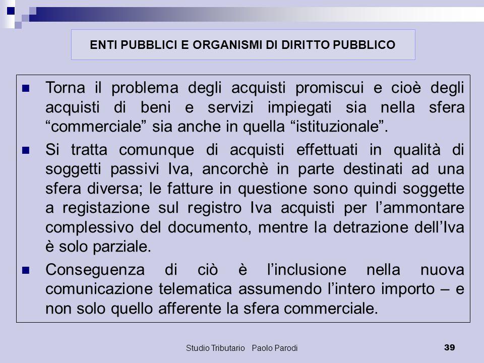 ENTI PUBBLICI E ORGANISMI DI DIRITTO PUBBLICO