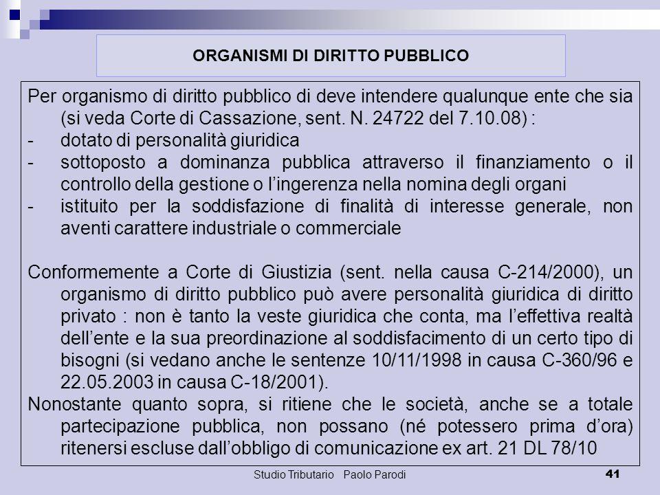 ORGANISMI DI DIRITTO PUBBLICO