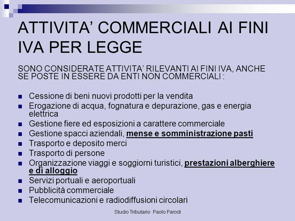 ATTIVITA' COMMERCIALI AI FINI IVA PER LEGGE