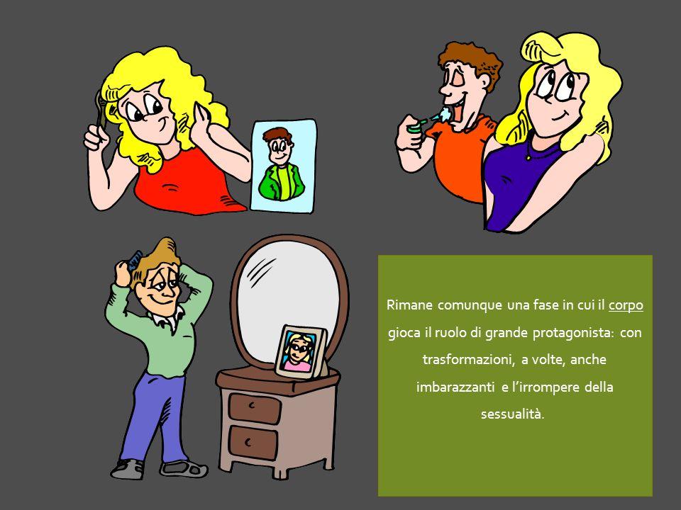 Rimane comunque una fase in cui il corpo gioca il ruolo di grande protagonista: con trasformazioni, a volte, anche imbarazzanti e l'irrompere della sessualità.