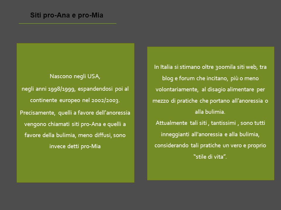 Siti pro-Ana e pro-Mia Nascono negli USA, negli anni 1998/1999, espandendosi poi al continente europeo nel 2002/2003.