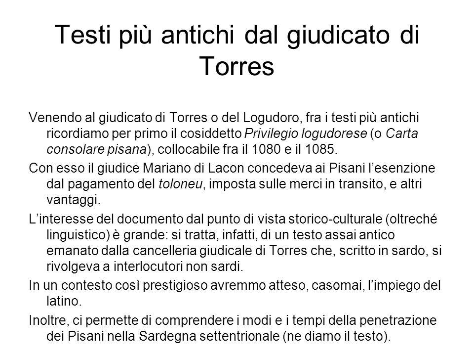 Testi più antichi dal giudicato di Torres