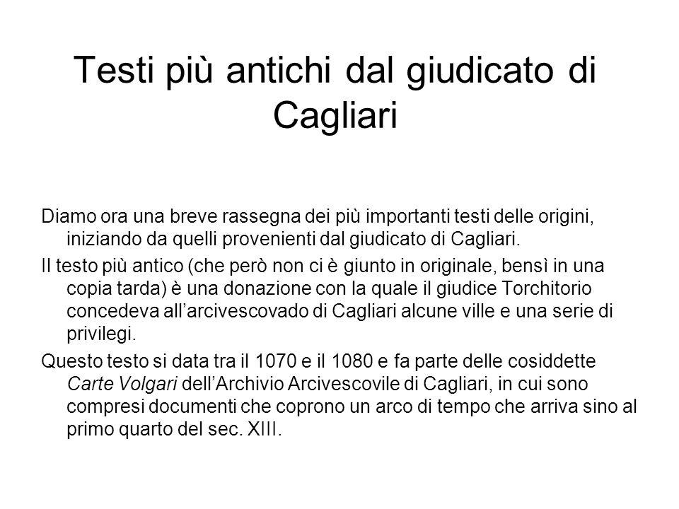 Testi più antichi dal giudicato di Cagliari