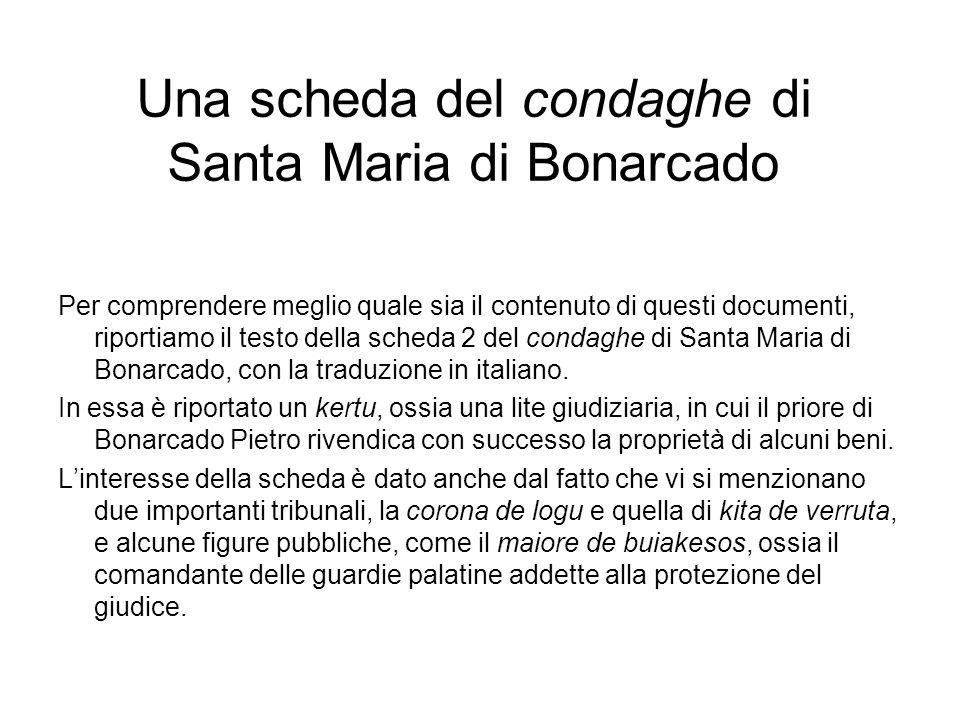 Una scheda del condaghe di Santa Maria di Bonarcado