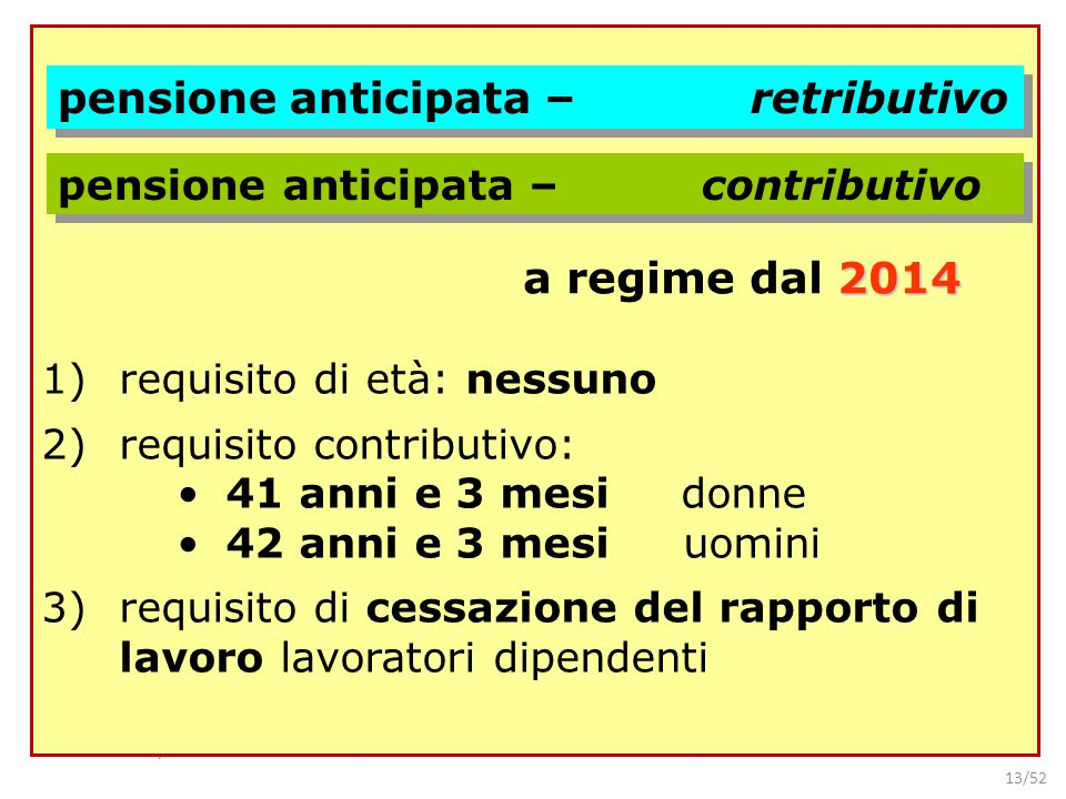 pensione anticipata – retributivo