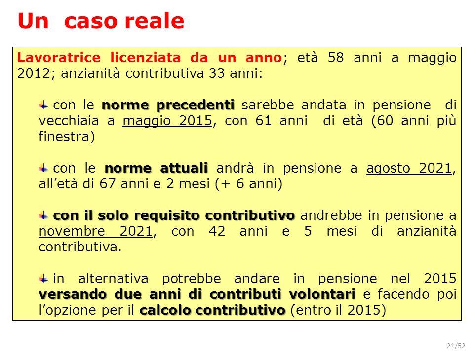 Un caso reale Lavoratrice licenziata da un anno; età 58 anni a maggio 2012; anzianità contributiva 33 anni: