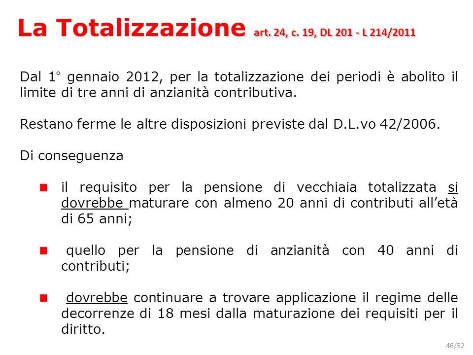 La Totalizzazione art. 24, c. 19, DL 201 - L 214/2011