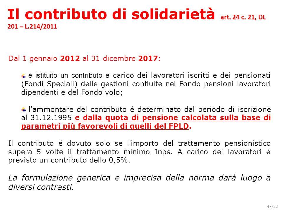 Il contributo di solidarietà art. 24 c. 21, DL 201 – L.214/2011