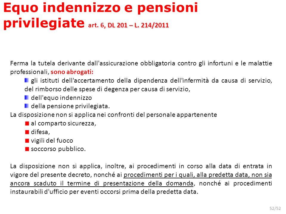 Equo indennizzo e pensioni privilegiate art. 6, DL 201 – L. 214/2011