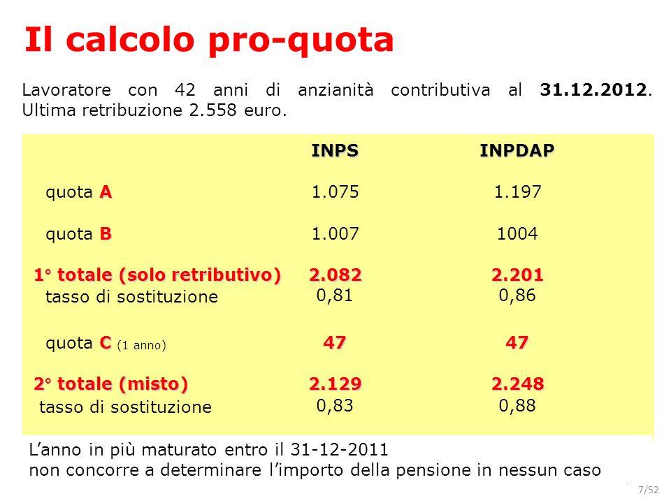Il calcolo pro-quota Lavoratore con 42 anni di anzianità contributiva al 31.12.2012. Ultima retribuzione 2.558 euro.
