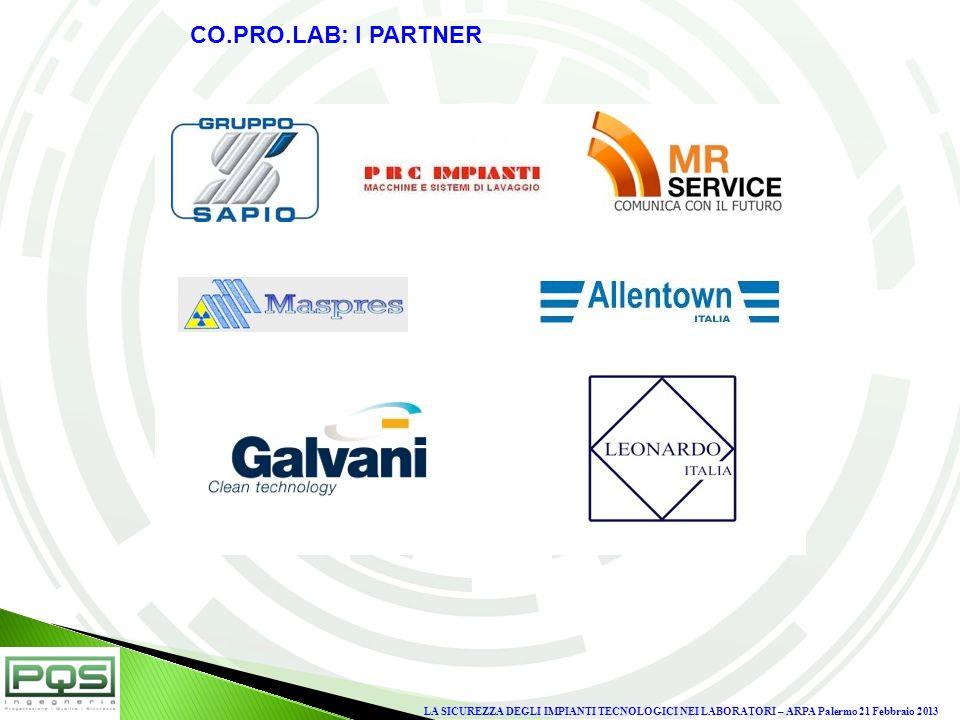 CO.PRO.LAB: I PARTNERLA SICUREZZA DEGLI IMPIANTI TECNOLOGICI NEI LABORATORI – ARPA Palermo 21 Febbraio 2013.
