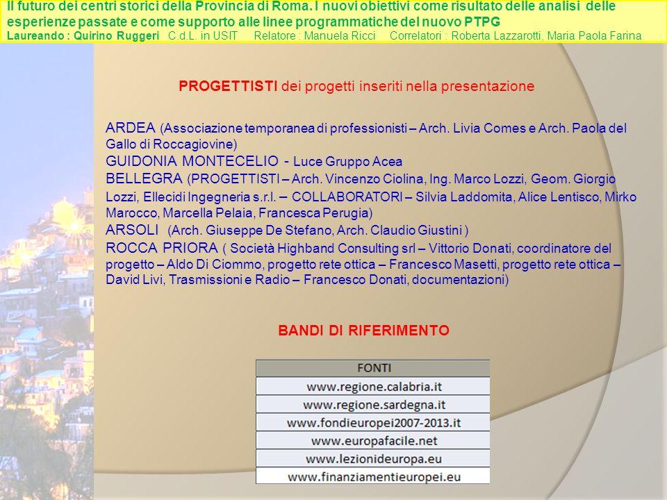 PROGETTISTI dei progetti inseriti nella presentazione