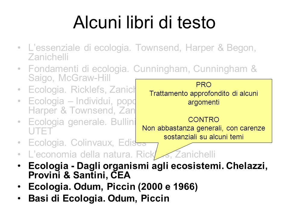 Alcuni libri di testo L'essenziale di ecologia. Townsend, Harper & Begon, Zanichelli.