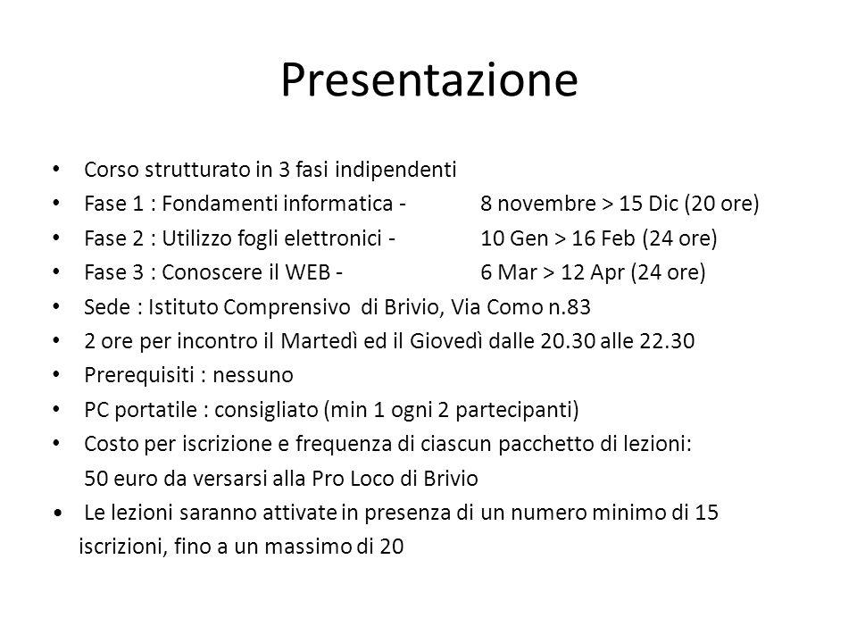 Presentazione Corso strutturato in 3 fasi indipendenti