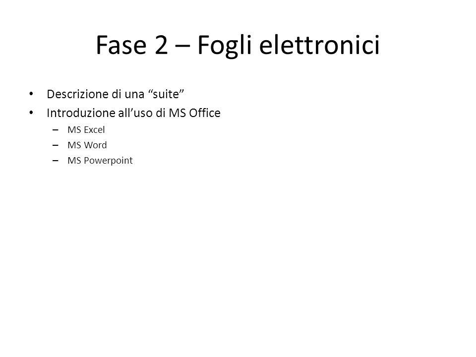 Fase 2 – Fogli elettronici