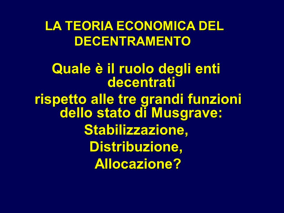 LA TEORIA ECONOMICA DEL DECENTRAMENTO