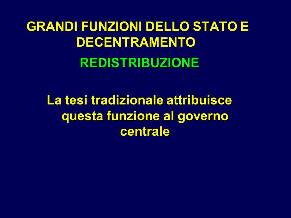 GRANDI FUNZIONI DELLO STATO E DECENTRAMENTO