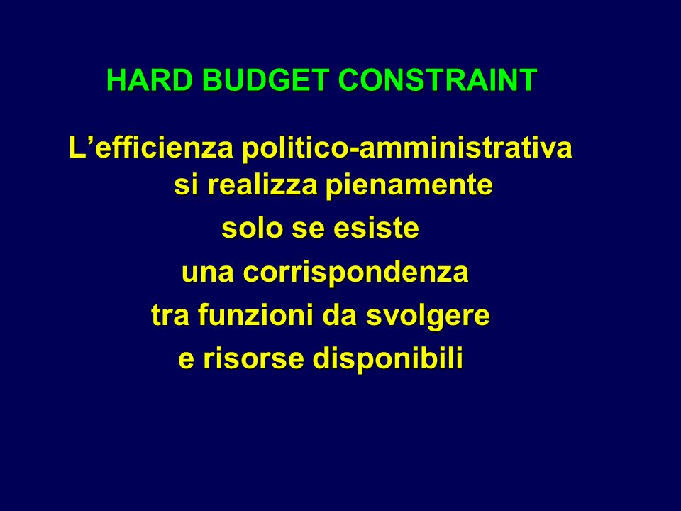 HARD BUDGET CONSTRAINT