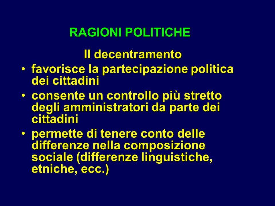 RAGIONI POLITICHE Il decentramento. favorisce la partecipazione politica dei cittadini.