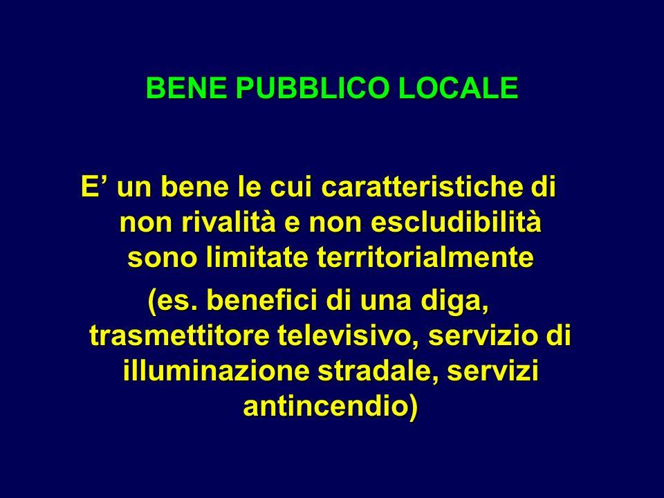 BENE PUBBLICO LOCALE E' un bene le cui caratteristiche di non rivalità e non escludibilità sono limitate territorialmente.