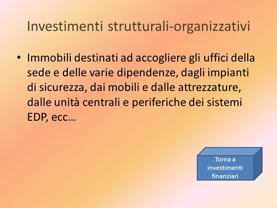 Investimenti strutturali-organizzativi