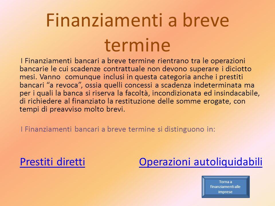 Finanziamenti a breve termine