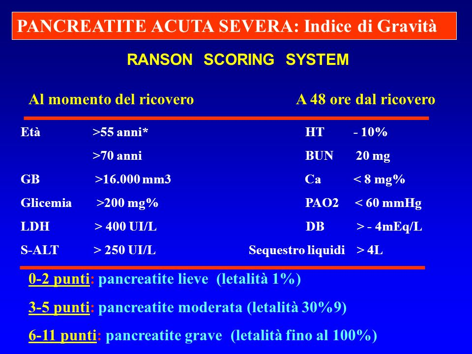 PANCREATITE ACUTA SEVERA: Indice di Gravità