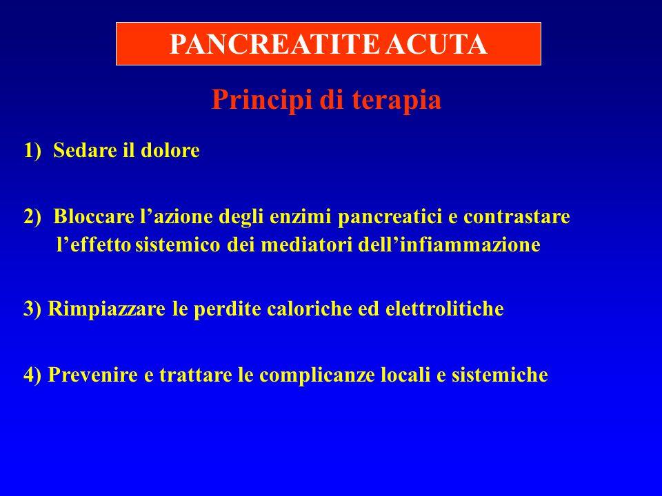 PANCREATITE ACUTA Principi di terapia 1) Sedare il dolore