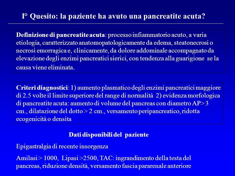 I° Quesito: la paziente ha avuto una pancreatite acuta