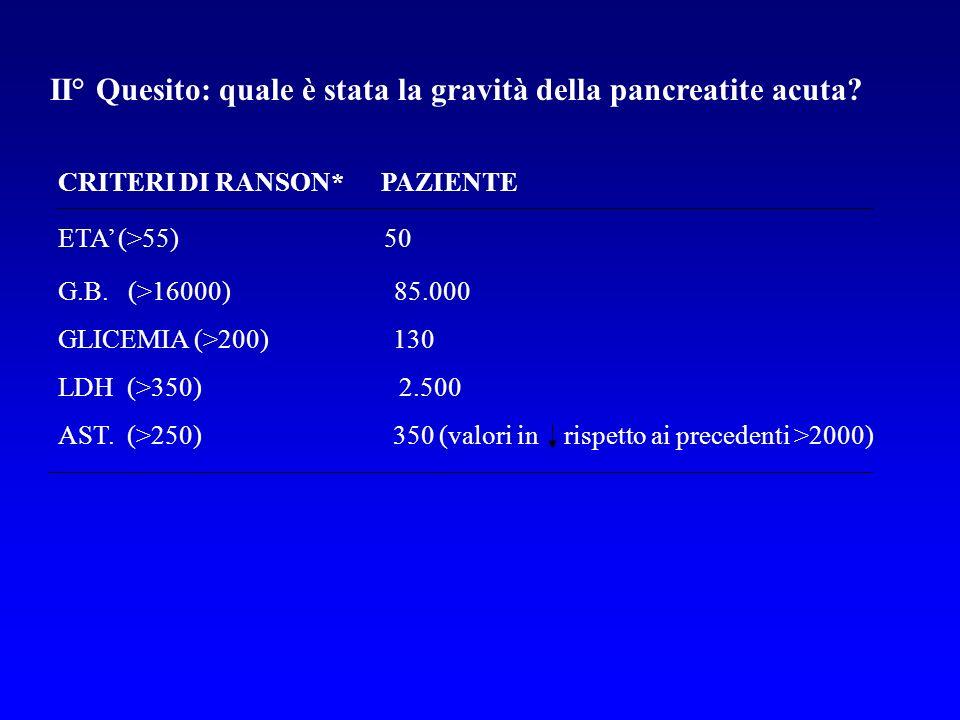 II° Quesito: quale è stata la gravità della pancreatite acuta