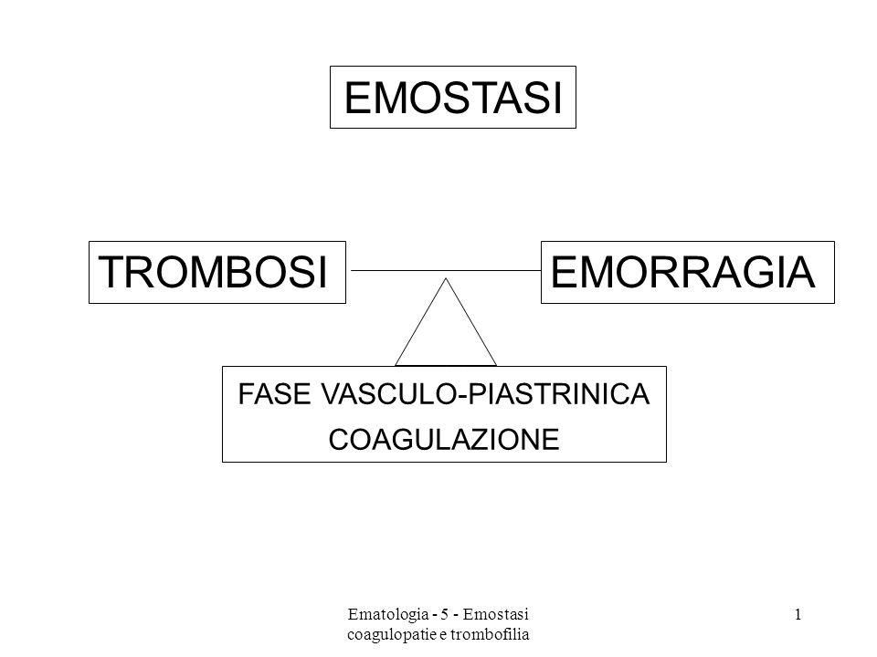 EMOSTASI TROMBOSI EMORRAGIA FASE VASCULO-PIASTRINICA COAGULAZIONE