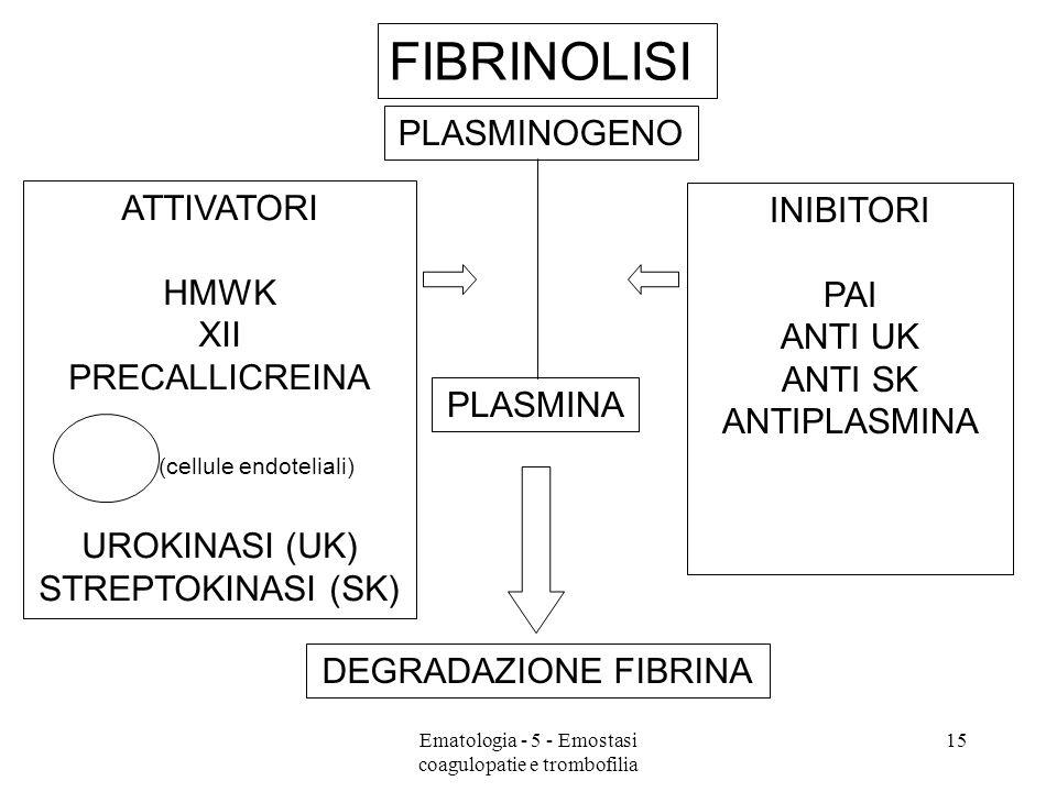 FIBRINOLISI PLASMINOGENO ATTIVATORI INIBITORI HMWK PAI XII ANTI UK