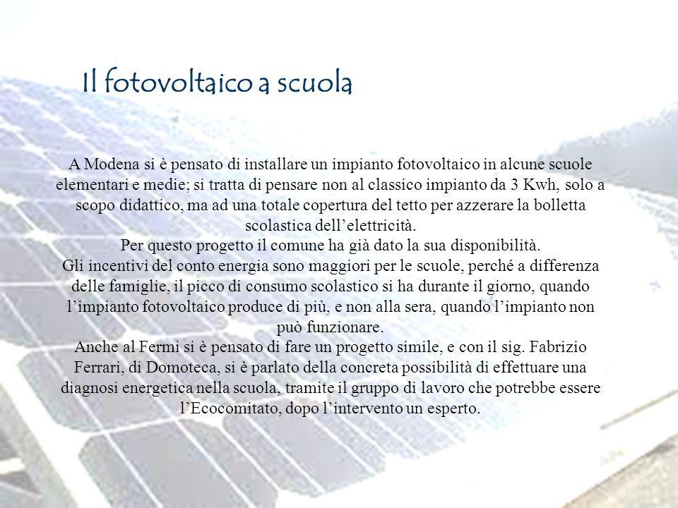 Il fotovoltaico a scuola