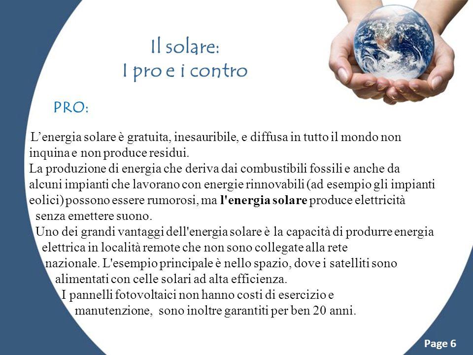 Il solare: I pro e i contro