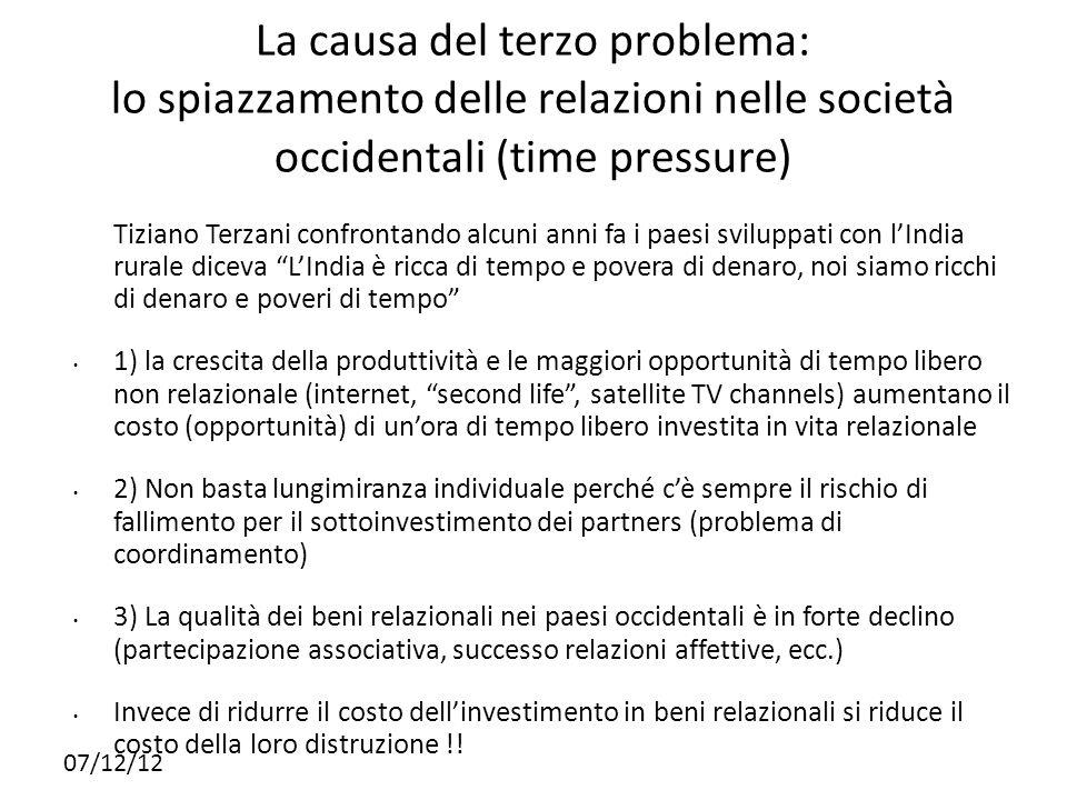 14141414 La causa del terzo problema: lo spiazzamento delle relazioni nelle società occidentali (time pressure)