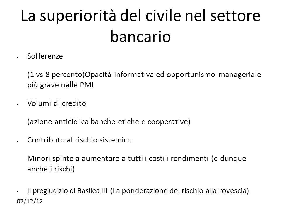 La superiorità del civile nel settore bancario