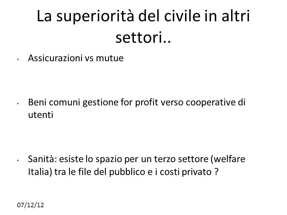 La superiorità del civile in altri settori..