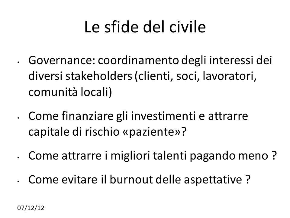 21212121Le sfide del civile. Governance: coordinamento degli interessi dei diversi stakeholders (clienti, soci, lavoratori, comunità locali)